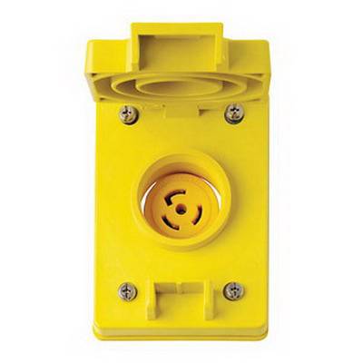 Leviton 67W48 Wetguard® Corrosion-Resistant Watertight Industrial Grade Single Locking Receptacle with Flip Lid Cover; Box/Flush Mount, 250 Volt, 20 Amp, 2-Pole, 3-Wire, NEMA L6-20R, Yellow