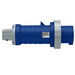 Leviton 4100P9W Watertight Pin and Sleeve Plug; 100 Amp, 250 Volt AC, 3-Pole, 4-Wire, 3 Phase, Screw Terminal, Blue