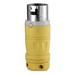 Leviton 6365CR Black & White® Grounding Locking Plug; 50 Amp, 125/250 Volt, 3-Pole, 4-Wire, Yellow/White
