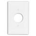 Leviton PJ7-W Midway Size 1-Gang Single Receptacle Plate; Device Mount, Thermoplastic Nylon, White