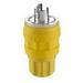 Leviton 26W75 Wetguard® Watertight and Dust-Tight ® Polarized Grounding Locking Plug; 20 Amp, 250 Volt, 3-Pole, 4-Wire, NEMA L15-20P, Yellow