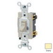 Leviton 54504-2I Commercial Toggle Framed 4-Way AC Quiet Switch; 2-Pole, 120/277 Volt AC, 15 Amp, Ivory