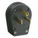 Leviton 931 Polarized Grounding Dual-Power Attachment Range/Dryer Angle Plug; 30/50 Amp, 250 Volt, 2-Pole, 3-Wire, NEMA 6-30P, 6-50P, Black