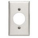 Leviton 84028 Standard Size 1-Gang Single Receptacle Plate; Device Mount, 430 Stainless Steel