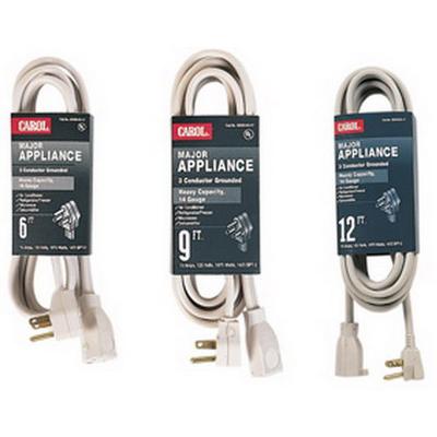 Carol 00439.63.17 SPT-3 Major Appliance Cord; 14/3 AWG, 9 ft, 15 Amp, 125 Volt, Molded Right Angle plug, PVC Jacket, Beige