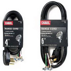Carol 00606.63.01 SRDT Replacement Range Cord; 8/2-6/2 AWG, 6 ft, 50 Amp, 250 Volt, PVC Jacket, Black