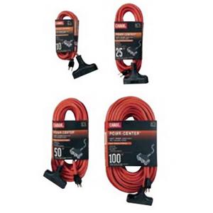 Carol 00691.63.04 Powr-Center® SJTW Extension Cord; 25 ft, 15 Amp, 125 Volt, Orange