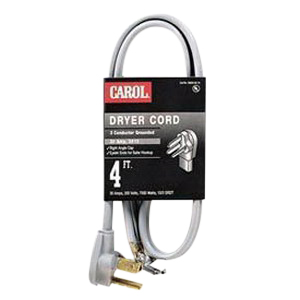 Carol 01004.63.01 SRDT Dryer Cord; 10/4 AWG, 4 ft, 30 Amp, 250 Volt, PVC Jacket, Black