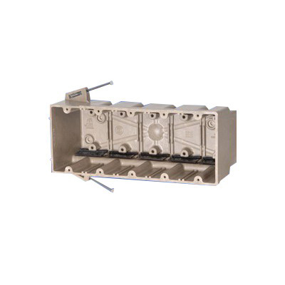 Allied Moulded 5305-NK 0 5-Gang Switch and Outlet Box; Thermoset Fiberglass Reinforced Polyester, Beige/Tan