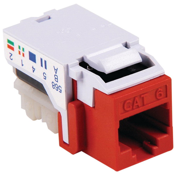 Hellermann Tyton RJ45FC6-RED Category 6 Modular Keystone Jack; Mated (RJ45) Front x 110 IDC, Red