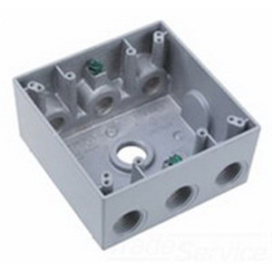 Mulberry 30266 2-Gang Weatherproof Lug Box; Surface, Die-Cast Aluminum, Gray