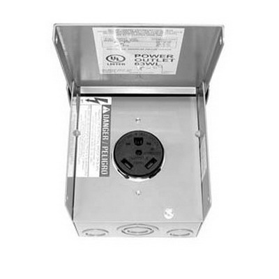 Milbank P-13 Single Overhead Temporay Power Outlet Receptacle; Surface Mount, 120 Volt, 30 Amp, 3-Pole, 3-Wire, NEMA 14-50R, Gray