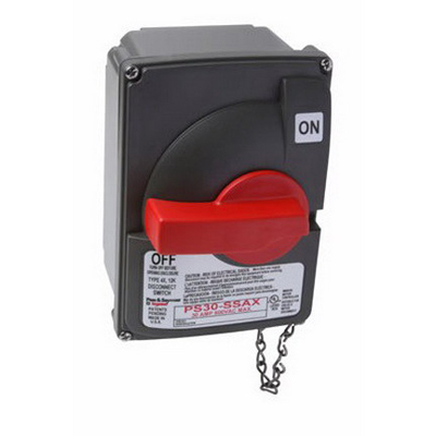 Pass & Seymour PS30-SSAX Non-Fusible Safety Switch with Auxiliary Contact 600 Volt AC  30 Amp  3  Grip Handle  Gray/Red