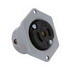 Pass & Seymour ML314 Polarized Midget Flanged Locking Outlet; 15 Amp, 125/250 Volt AC, 3-Wire, NEMA ML3-15R, Black Face, Gray Flange