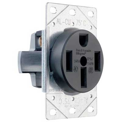 Pass & Seymour 3894 Specification Grade Straight Blade Power Receptacle; Flush Mount, 125/250 Volt AC, 50 Amp, 3-Pole, 4-Wire, NEMA 14-50, Black