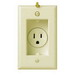 Pass & Seymour S3713-I Decorator Clock Hanger Single Recessed Receptacle with Smooth Wallplate; Wall Mount, 125 Volt, 15 Amp, 2-Pole, 3-Wire, NEMA 5-15R, Ivory