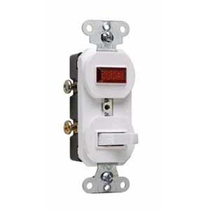 Pass & Seymour 692-WG Combination Switch with Single Pilot Light; 120/125 Volt AC, 15 Amp, 1-Pole, Grounding, White