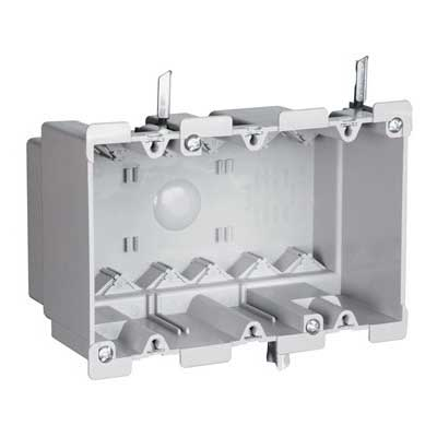 Pass & Seymour S3-52-W Slater® Gangable Quick/Click 3-Gang Old Work Switch and Outlet Box; Thermoplastic, Gray