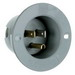 Pass & Seymour 5278-SS Straight Blade Male Grounding Flanged Inlet; 15 Amp, 125 Volt, 2-Pole, 3-Wire, NEMA 5-15P, Gray