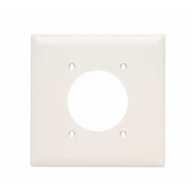 Pass & Seymour TP703-LA tradeMaster® Standard Size 2-Gang Single Receptacle Plate; Wall Mount, Nylon, Light Almond