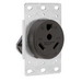 Pass & Seymour 3830 Straight Blade RV Power Outlet Receptacle; Flush Mount, 125 Volt AC, 30 Amp, 2-Pole, 3-Wire, NEMA TT-30R, Black