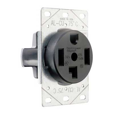 Pass & Seymour 3864 Specification Grade Straight Blade Power Receptacle Flush Mount  125/250 Volt AC  30 Amp  3-Pole  4-Wire  NEMA 14-30R  Black