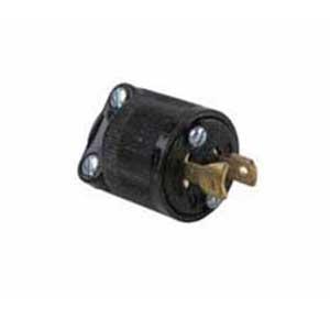 Pass & Seymour ML1113 Polarized Non-Grounding Midget Locking Plug; 15 Amp, 125 Volt AC, 2-Pole, 2-Wire, NEMA ML1-15P, Black