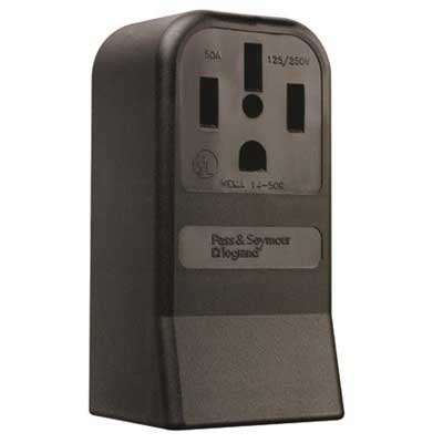 Pass & Seymour 3854 Specification Grade Straight Blade Power Receptacle; Surface Mount, 125/250 Volt AC, 50 Amp, 3-Pole, 4-Wire, NEMA 14-50R, Black