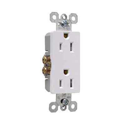 Pass & Seymour 885-SW Sierraplex® tradeMaster® Decorator Duplex Receptacle; Wall Mount, 125 Volt, 15 Amp, 2-Pole, 3-Wire, NEMA 5-15R, Self Grounding White