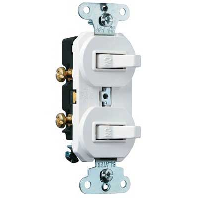 Pass & Seymour 696-WG 3-Way Combination Switch; 120/277 Volt AC, 15 Amp, 1-Pole, Grounding, White