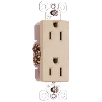 Pass & Seymour 885-SI Sierraplex® tradeMaster® Decorator Duplex Receptacle; Wall Mount, 125 Volt, 15 Amp, 2-Pole, 3-Wire, NEMA 5-15R, Self Grounding Ivory