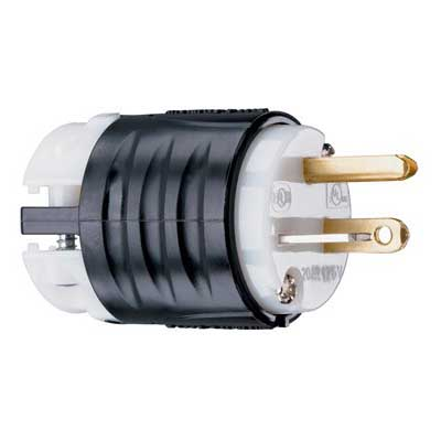 Pass & Seymour PS5366-X Specification Grade Extra-Hard Use Straight Blade Plug; 20 Amp, 125 Volt, 2-Pole, 3-Wire, NEMA 5-20P, Black/White