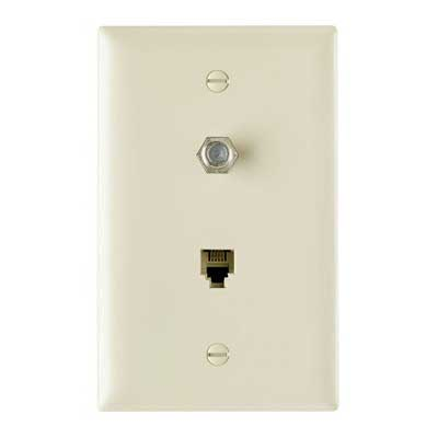 On-Q TPTELTV Type F 1-Gang Combination Communication Wallplate; Flush Mount, Thermoplastic Face, Brown