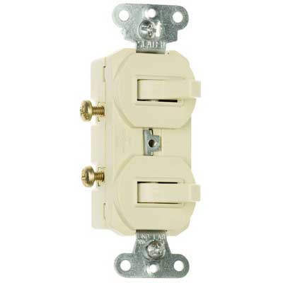 Pass & Seymour 690-IG Double Combination Switch; 120/277 Volt AC, 15 Amp, 1-Pole, Grounding, Ivory
