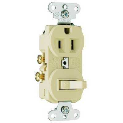 Pass & Seymour 691-I Combination Switch with Receptacle; 120/125 Volt, 15 Amp, 1-Pole, Grounding, Ivory