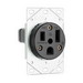 Pass & Seymour 3804 Specification Grade Straight Blade Power Outlet Receptacle; Flush Mount, 250 Volt AC, 50 Amp, 2-Pole, 3-Wire, NEMA 6-50R, Black