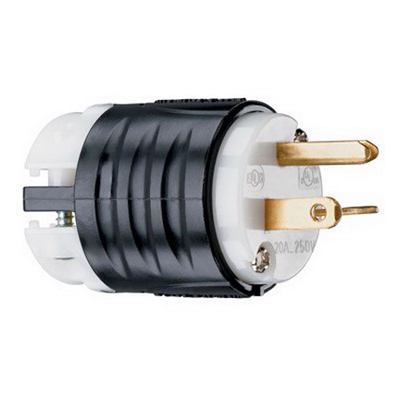 Pass & Seymour 5466-X Specification Grade Extra-Hard Use Polarized Grounding Straight Blade Plug; 20 Amp, 250 Volt, 2-Pole, 3-Wire, NEMA 6-20P, Black/White