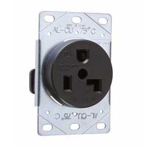 Pass & Seymour 3802 Straight Blade Power Outlet Receptacle; Flush Mount, 125 Volt AC, 30 Amp, 2-Pole, 3-Wire, NEMA 5-30R, Black