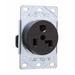Pass & Seymour 3802 Straight Blade Power Outlet Receptacle; Flush Mount, 125 Volt AC, 30 Amp, 2-Pole, 3-Wire, NEMA 5-30R, Black