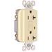 Pass & Seymour 2095-I Specification Grade Duplex Outlet GFCI Receptacle; Wallplate Mount, 125 Volt AC, 20 Amp, 2-Pole, NEMA 5-20R, Ivory