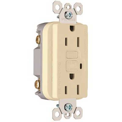 Pass & Seymour 1595-I tradeMaster® Specification Grade Duplex Outlet GFCI Receptacle; Wallplate Mount, 125 Volt AC, 15 Amp, 2-Pole, NEMA 5-15R, Ivory