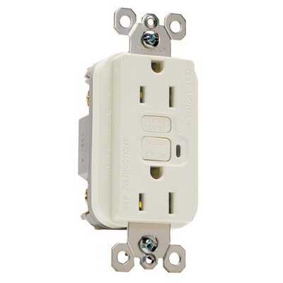 Pass & Seymour 1595-LA tradeMaster® Specification Grade Duplex Outlet GFCI Receptacle; Wallplate Mount, 125 Volt AC, 15 Amp, 2-Pole, NEMA 5-15R, Light Almond