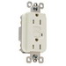 Pass & Seymour 1595-LA tradeMaster® Specification Grade Duplex Outlet GFCI Receptacle; Wallplate Mount, 125 Volt AC, 15 Amp, 2-Pole, NEMA 5-15R, Light Almond