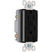 Pass & Seymour 1595-BK tradeMaster® Specification Grade Duplex Outlet GFCI Receptacle; Wallplate Mount, 125 Volt AC, 15 Amp, 2-Pole, NEMA 5-15R, Black
