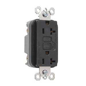Pass & Seymour 2095-BK Specification Grade Duplex Outlet GFCI Receptacle; Wallplate Mount, 125 Volt AC, 20 Amp, 2-Pole, NEMA 5-20R, Black