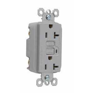Pass & Seymour 2095-GRY Specification Grade Duplex Outlet GFCI Receptacle; Wallplate Mount, 125 Volt AC, 20 Amp, 2-Pole, NEMA 5-20R, Gray