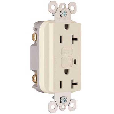 Pass & Seymour 2095-LA Specification Grade Duplex Outlet GFCI Receptacle; Wallplate Mount, 125 Volt AC, 20 Amp, 2-Pole, NEMA 5-20R, Light Almond