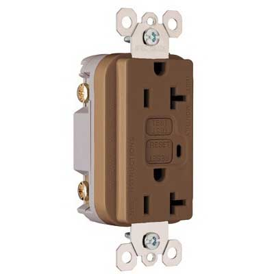 Pass & Seymour 2095 Specification Grade Duplex Outlet GFCI Receptacle; Wallplate Mount, 125 Volt AC, 20 Amp, 2-Pole, NEMA 5-20R, Brown