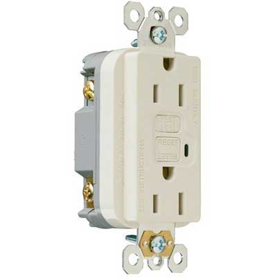 Pass & Seymour 1595-SLA tradeMaster® Auto Ground Specification Grade Duplex Outlet GFCI Receptacle; Wall Mount, 125 Volt AC, 15 Amp, 2-Pole, NEMA 5-15R, Light Almond