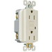 Pass & Seymour 1595-SLA tradeMaster® Auto Ground Specification Grade Duplex Outlet GFCI Receptacle; Wall Mount, 125 Volt AC, 15 Amp, 2-Pole, NEMA 5-15R, Light Almond
